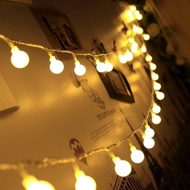 6m LED Guirlande Lumineuse 40 LED Mini Boules De Noël Décoration De Mariage Fée Lumière Fête De Vacances Fête Extérieure Cour Décoration Lampe USB Alimenté Cadeau De Noël