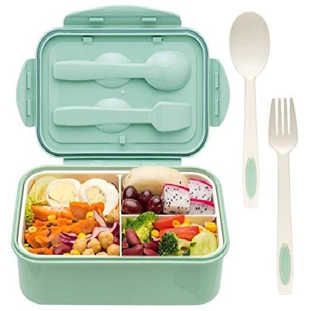 pudełko na lunch 1.1l pudełko na lunch bento przygotowanie posiłku dla dzieci dzieci dorosły z łyżką i widelcem trwałe odporne na ciepło szczelne materiały wolne od bpa i bezpieczne dla żywności
