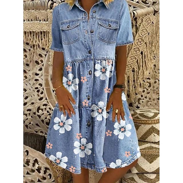 Dame Denim skjortekjole Knælange Kjole Blå Kortærmet Blomstret Lomme Knap Forår Sommer Krave Chic og moderne Afslappet 2021 M L XL XXL 3XL