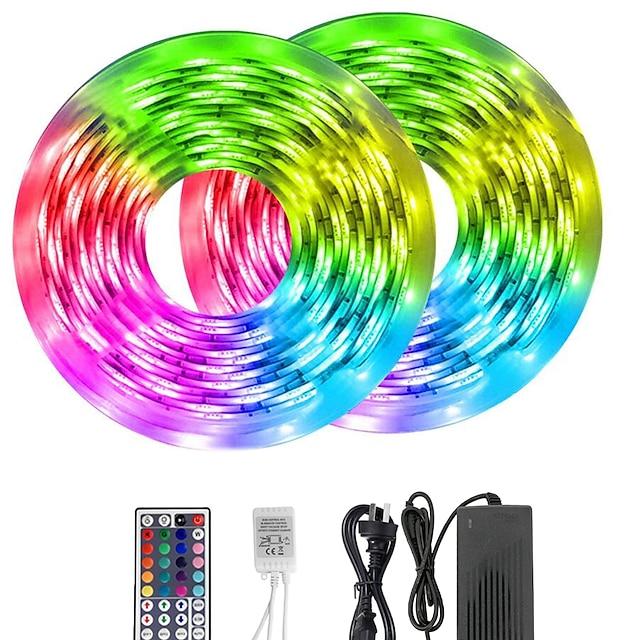 KWB 10 m RGB szalagfények 600 LED 5050 SMD 10mm RGB Távirányító Cuttable Tompítható 12 V / Összekapcsolható / Gépjárműbe / Öntapadós / Színváltós / IP44