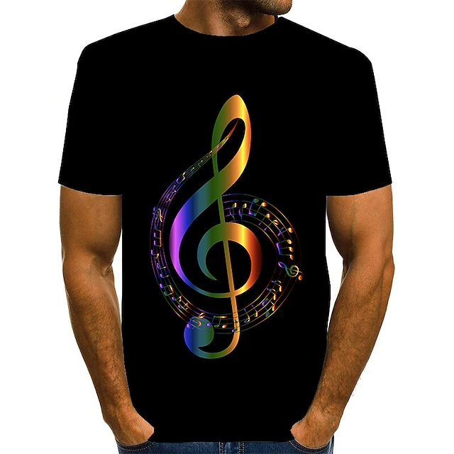 Men's T shirt Graphic Print Short Sleeve Daily Tops Basic Exaggerated Red Gold Rainbow