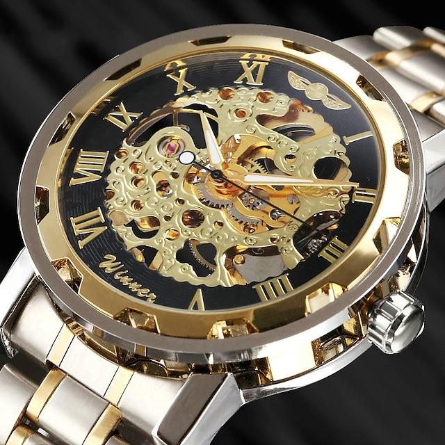 WINNER สำหรับผู้ชาย นาฬิกาเห็นกลไกจักรกล นาฬิกาข้อมือ ระบบอนาล็อก ไขลานอัตโนมัติ ความหรูหรา แกะสลักกลวง / สแตนเลส