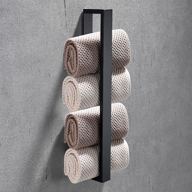 Porta-toalha de aço inoxidável de 16 polegadas perfurado / autoadesivo opcional montado na parede, estilo contemporâneo barra de toalha de acessórios de hardware de banheiro, à prova de ferrugem, preto fosco, escovado, polido