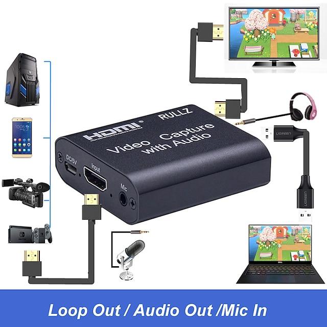 4khdmi互換ビデオキャプチャカード3.5mmオーディオ出力マイク入力レコーダーデバイスボックスゲーム放送ライブストリーミングキャプチャカードサポートusb2.0usb3.0プラグアンドプレイドライバー不要