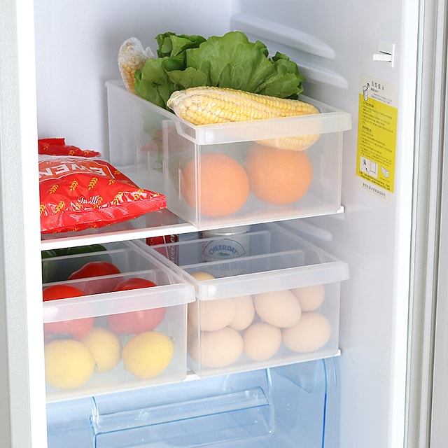 plastförvaringslåda 1 st med 3 rutnät för kök och kylskåp matlagring