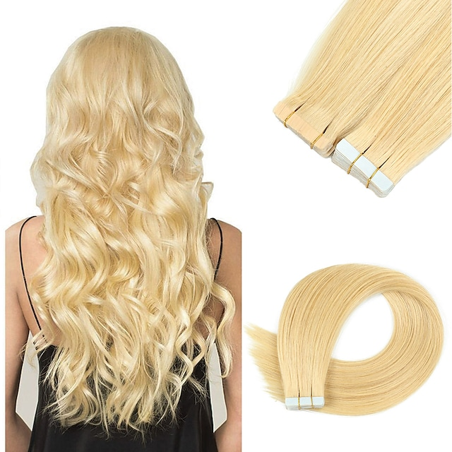 Tape In Hair Extensions Remy Human Hair Skin Wefts 20pcs 50 g Pack Straight Black 16-24 inch Hair Extensions