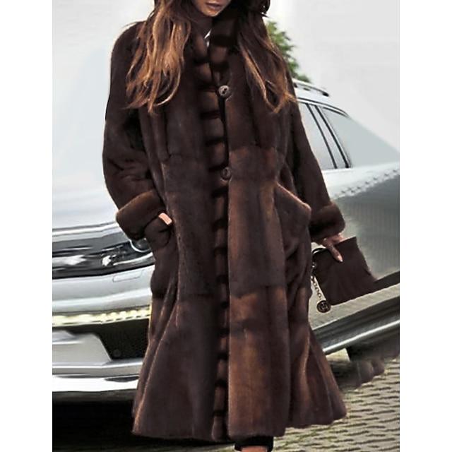 Per donna Cappotto di pelliccia sintetica Tinta unita Essenziale Autunno inverno Lungo Feste Manica lunga Pelliccia sintetica Cappotto Top Marrone