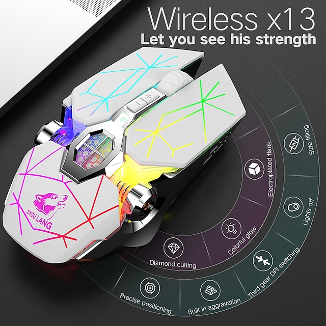 LITBest X13 Wireless Bluetooth  Wireless 2.4G Optical Gaming Mouse Rechargeable Mouse Multi-colors Backlit 2400 Dpi 3 Adjustable DPI Levels 6 pcs Keys