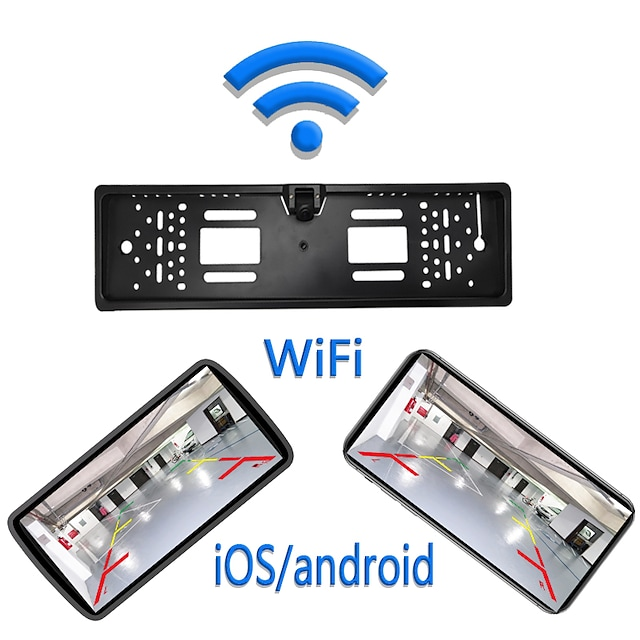 eu wifi plaka çerçeve kamera 1280 x 720 kablosuz 180 derece araba geri vites monitörü su geçirmez gece görüş araç ters kamera kablosuz ios ve android için 12v 24v park asistanı