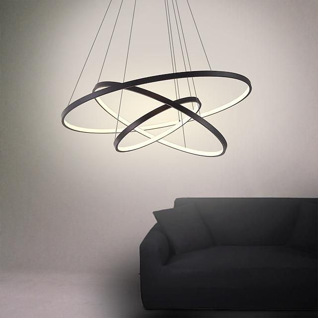 3-φως 80/60/40/20 cm led μενταγιόν ελαφρύ μεταλλικό δακτύλιο ακρυλικό δαχτυλίδι με σχέδιο βαμμένα φινιρίσματα 90w / 113w 3-δακτύλιοι 4-δακτύλιοι με δυνατότητα ρύθμισης με τηλεχειριστήριο