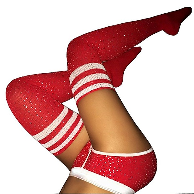 Women's Warm Stockings - Striped / Sexy Lady / Christmas 200D White Black Red One-Size