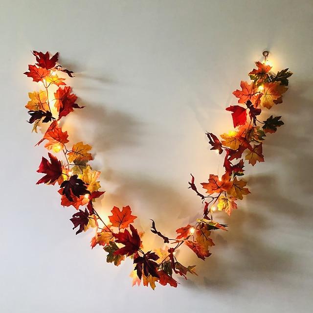 1.7m 20leds automne feuille d'érable rotin LED guirlande lumineuse 5pcs 2pcs fête de vacances jardin Thanksgiving récolte festival lumière décorative sans batterie