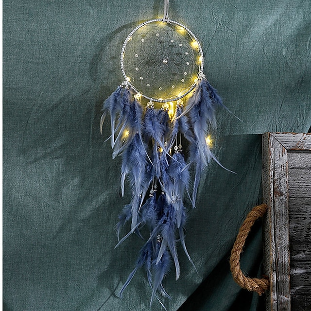 LED plume veilleuse à la main plume dreamcatcher vent carillon ornements vacances cadeau de noël décoration cadeau d'anniversaire de la Saint-Valentin