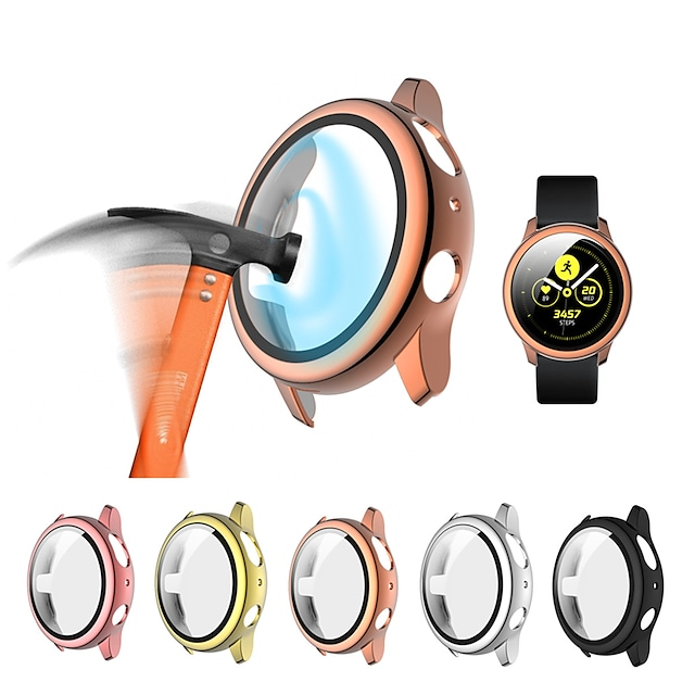 Custodie Per Samsung Galaxy Samsung Galaxy Active 2 44MM / Samsung Galaxy Active 2 40MM Vetro temperato / PU Proteggi Schermo Custodia per Smartwatch  Compatibilità 40 mm 44mm