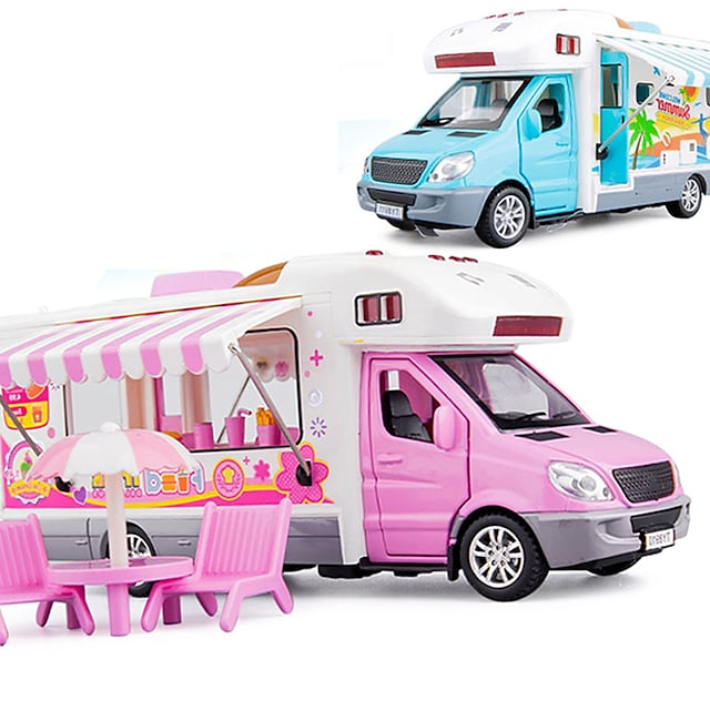 Transport Car Toy Beach Theme Mini Food Truck Simulation Music & Light Alloy Mini Car Vehicles Toys for Party Favor or Kids Birthday Gift / Kid's