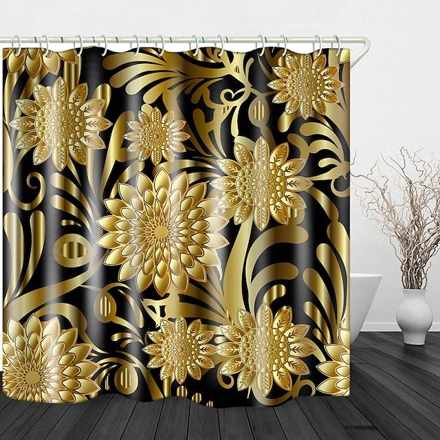 elegáns és nemes aranyvirágok digitális nyomtatás vízálló szövet zuhanyfüggöny fürdőszoba lakberendezési tárgyakkal borított fürdőkád függönyök bélés horoggal