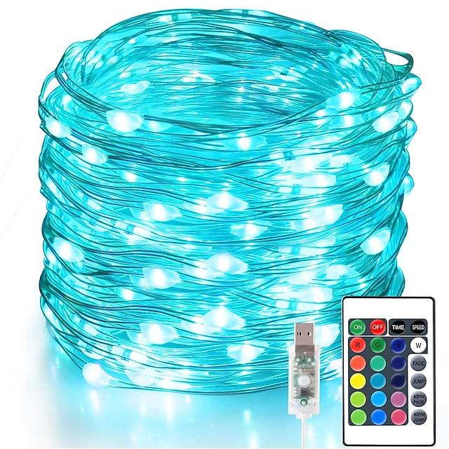 peri ışıkları 100 led 33 ft noel ışıkları usb fişi 16 renk değiştiren gümüş tel ateşböceği iç mekan partisi için ir24 anahtarlı uzaktan kumanda ile yanar cadılar bayramı noel