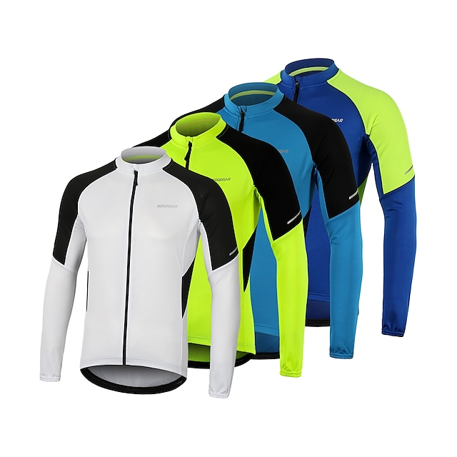 Arsuxeo Men's Long Sleeve Cycling Jersey Summer Polyester White Blue Green Bike Jersey Top Mountain Bike MTB Road Bike Cycling Quick Dry Breathable Reflective Strips Sports Clothing Apparel