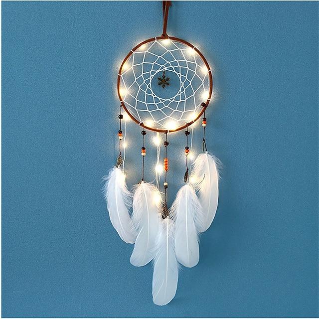 led-verlichting windgong dromenvanger net met veren kraal bruiloft decoratie dromenvanger muur opknoping thuis auto ornament cadeau