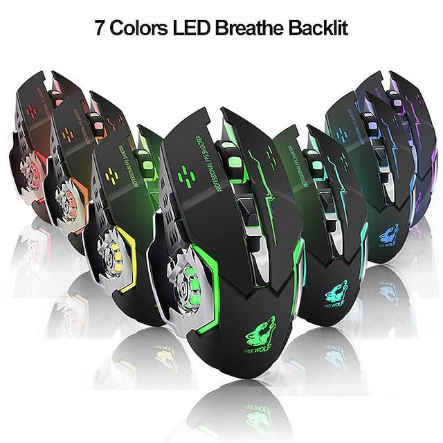 LITBest X8 Wireless 2.4G Optical Gaming Mouse Ergonomic Mouse Led Breathing Light 1800 dpi 3 Adjustable DPI Levels 6 pcs Keys