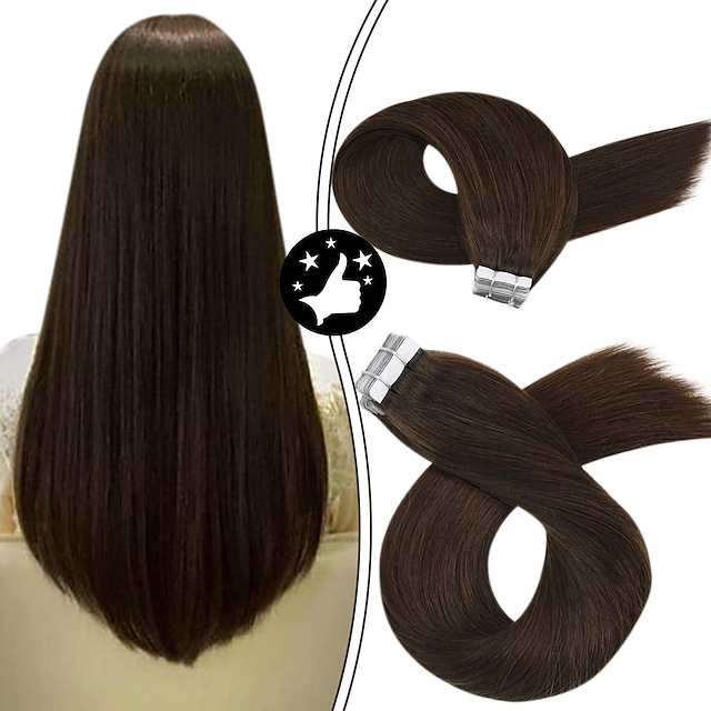 Tape In Hair Extensions Remy Human Hair 20pcs Pack Straight Hair Extensions