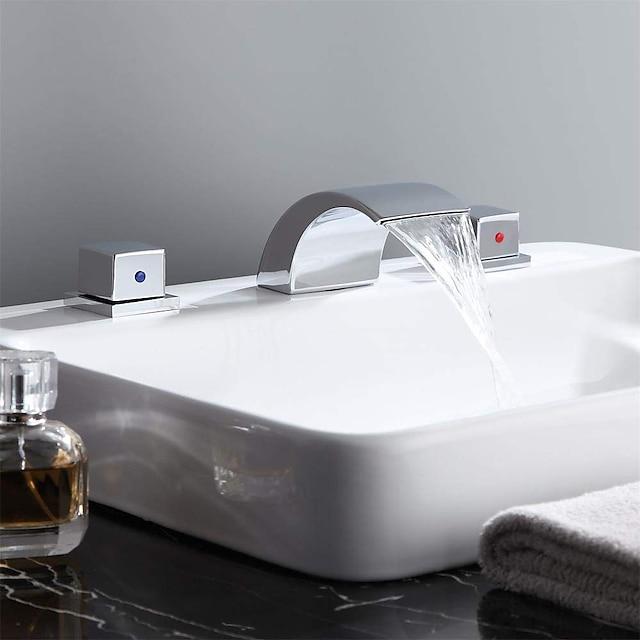 Bathroom Sink Faucet - Waterfall Chrome Widespread Two Handles Three HolesBath Taps / Brass