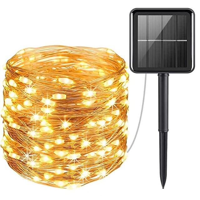 Outdoor Solar LED String Lights Wedding Decoration 10M 33ft 100 LED 8 Lighting Modes Waterproof Fairy Lights Garden Christmas Wedding Birthday Party Holiday Decoration