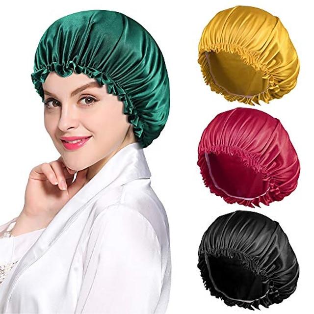 cuffia multifunzione con stampa setosa cuffia per dormire in raso ampia fascia elastica per le donne capelli lunghi naturali ricci 1 pz