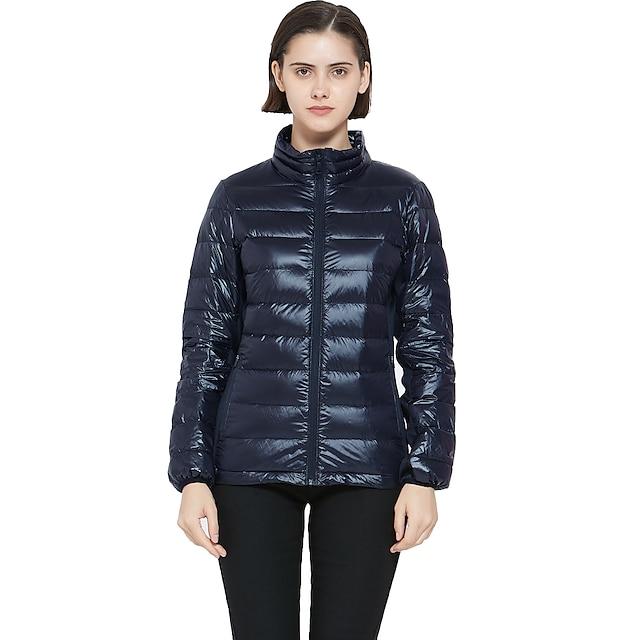 Women's Long Sleeve Down Jacket Puffer Jacket Lightweight Full-Zip Water-Resistant Packable Jacket Winter Outdoor Sports Clothing Ski Running Camping