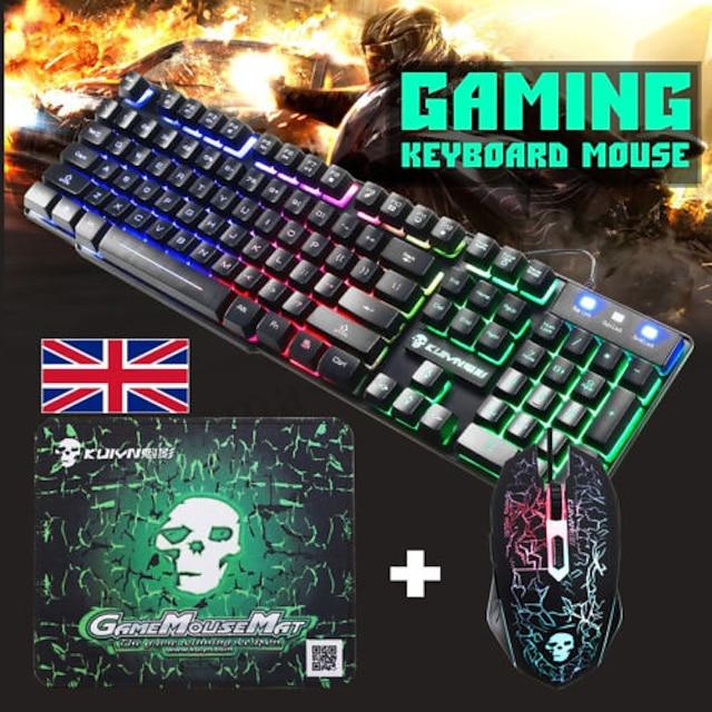 t6 usb проводная клавиатура для мыши комбинированная игровая клавиатура 2400 dpi мультимедийная клавиатура игровая светящаяся игровая мышь с ковриком для мыши