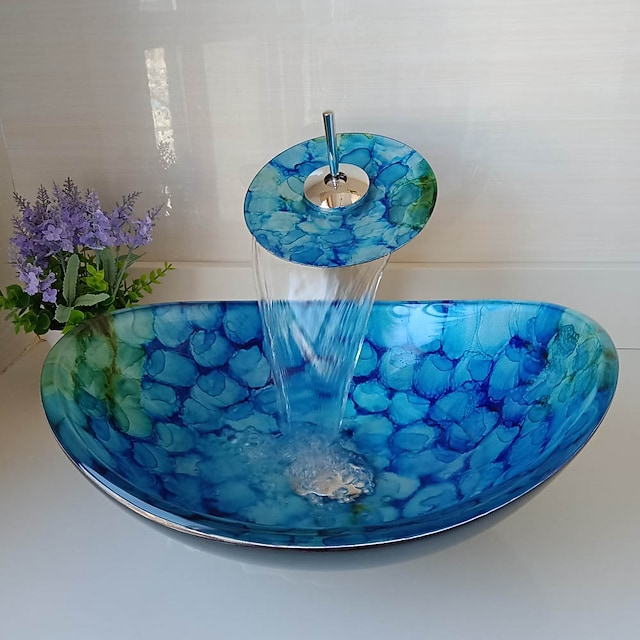 Boat Shape Blue Tempered Glass Vessel Sink Pop-Up Drain and Mounting Ring