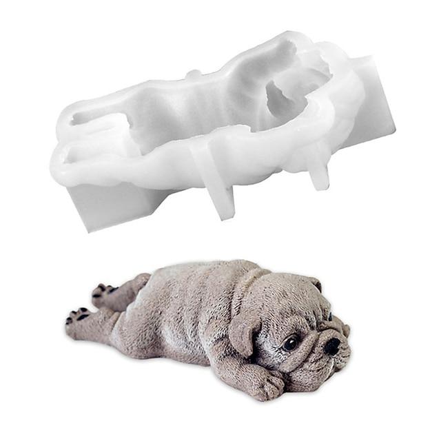Mignon chien silicone moule mousse gâteau 3d shar pei moule crème glacée jello pudding souffle refroidissement outil bricolage fondant décoration