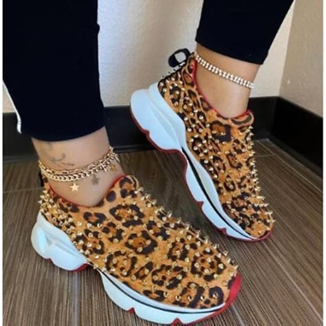Women's Trainers Athletic Shoes Flat Heel Round Toe Sporty Daily PU Rivet Leopard Leopard Black Red
