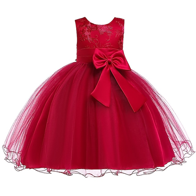 Kids Little Girls' Dress Solid Colored Flower Tulle Dress Wedding Party Layered Tulle Mesh Blue Red Fuchsia Knee-length Sleeveless Cute Dresses Summer 2-12 Years / Lace / Bow