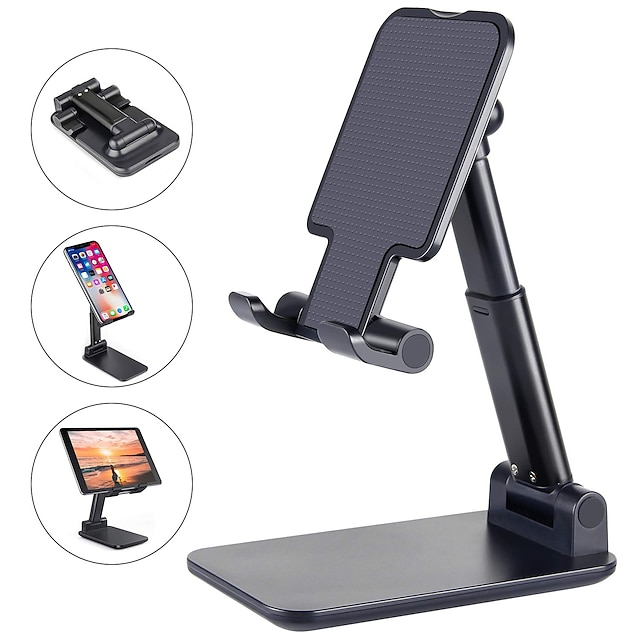 Phone Support For iPhone iPad iPhone 12 SE 11 11 Pro/XS Max Phone Stand Holder Adjustable Metal Desktop Tablet Holder Upgraded Height Increasing Desk Phone Holder for Cell Phone