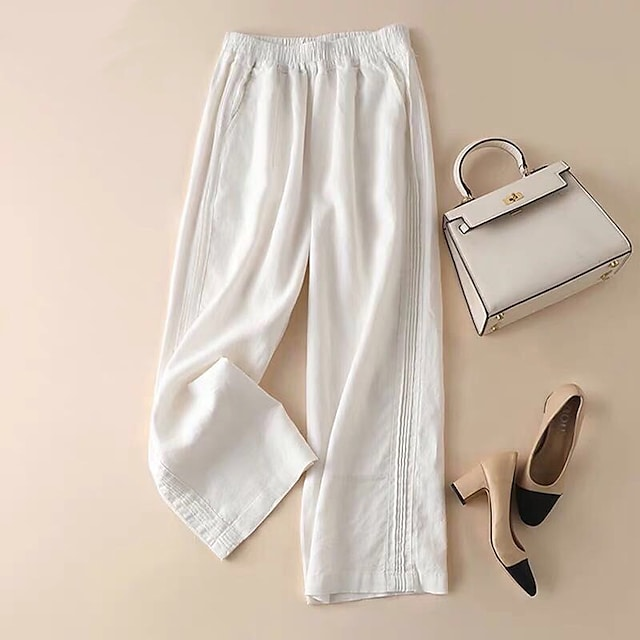 Women's Daily Weekend Chinos Pants Solid Colored Full Length White Blue Gray