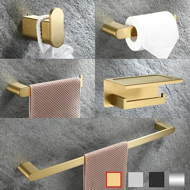 multifunkční koupelnový doplněk z nerezové oceli, držák na ručník / držák na toaletní papír / háček na župan / koupelnová police na zeď
