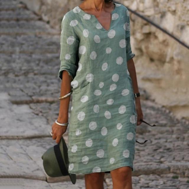 نسائي فستان شيفت فستان طول الركبة أحمر أخضر رمادي أزرق فاتح 3/4 الكم منقط طباعة الربيع الصيف V رقبة حار كاجوال فساتين العطلة 2021 S M L XL XXL 3XL 4XL 5XL