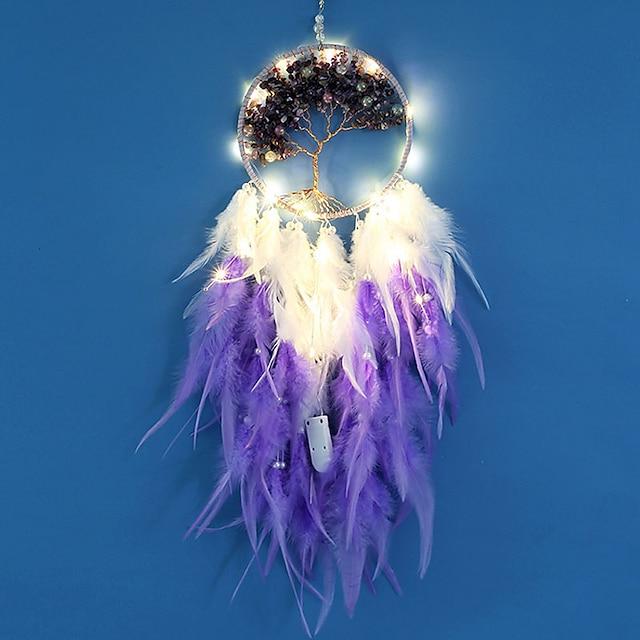 dreamcatcher led plume veilleuse à la main violet plume carillon de vent pour chambre décoration murale Saint Valentin cadeau de noël