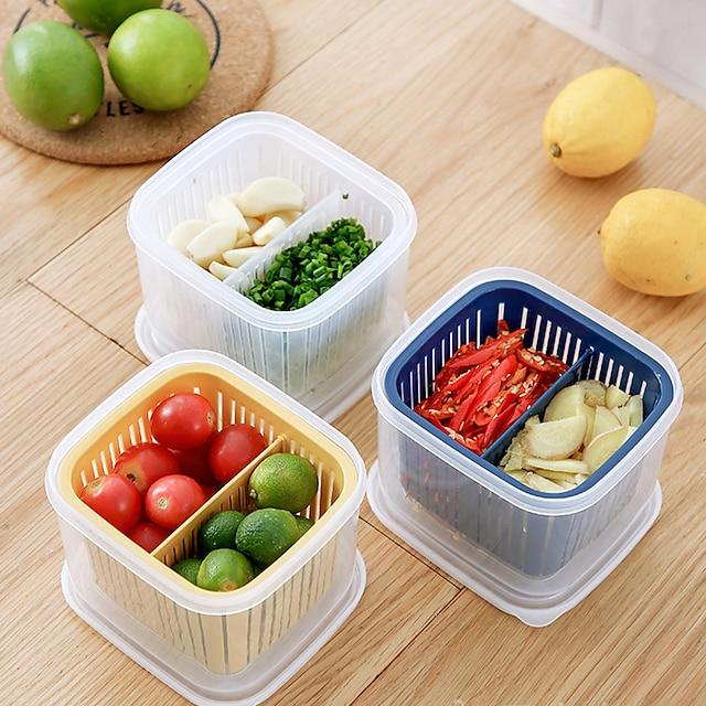podijeljena kuhinjska kutija za odlaganje hladnjaka u kuhinji posebno voće i povrće odvodi češnjak