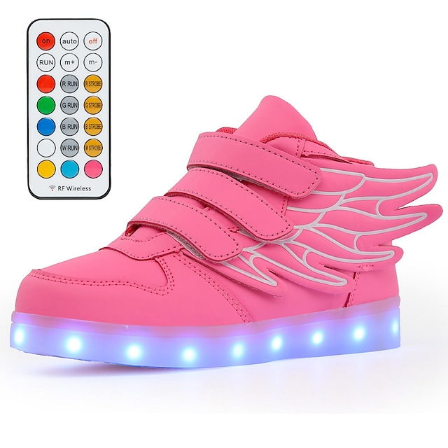 Boys' Girls' Sneakers LED Shoes Children's Day USB Charging Microfiber PU Light Up Shoes Little Kids(4-7ys) Big Kids(7years +) Daily Walking Shoes LED White Black Blue Fall Spring