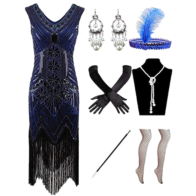 The Great Gatsby Charleston Roaring 20s 1920s Vintage Vacation Dress Flapper Dress Prom Dress Halloween Costumes Prom Dresses Women's Feather Sequin Costume Red / black / Golden / Golden+Black Vintage