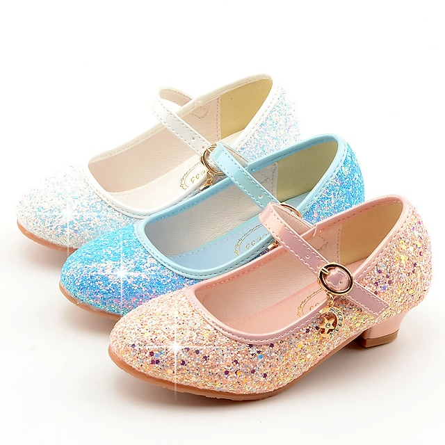 Girls' Heels Moccasin Flower Girl Shoes Princess Shoes Rubber PU Little Kids(4-7ys) Big Kids(7years +) Daily Party & Evening Walking Shoes Rhinestone Buckle Sequin White Blue Pink Fall Spring