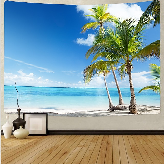 Wall Tapestry Art Deco Blanket Curtain Picnic Table Cloth Hanging Home Bedroom Living Room Dormitory Decoration Polyester Fiber Beach Series Coconut Tree Blue Sea White Cloud Blue Sky