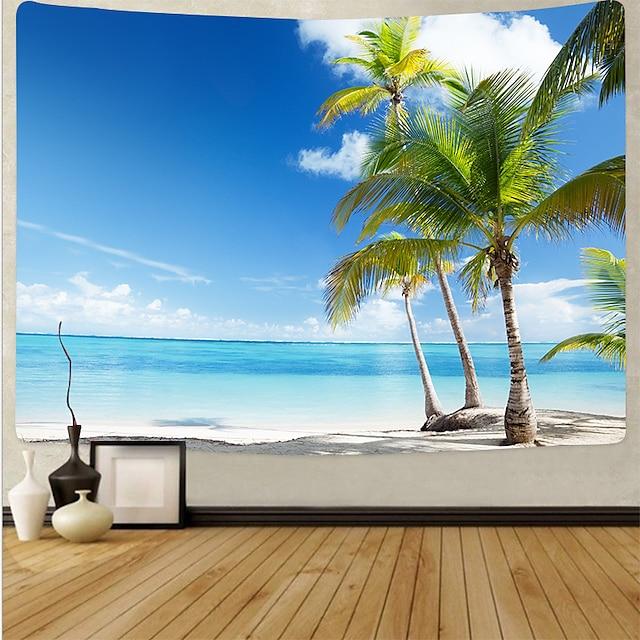 tapiz de pared manta art deco cortina mantel de picnic colgando en casa dormitorio sala de estar decoración del dormitorio fibra de poliéster serie de playa árbol de coco mar azul nube blanca cielo