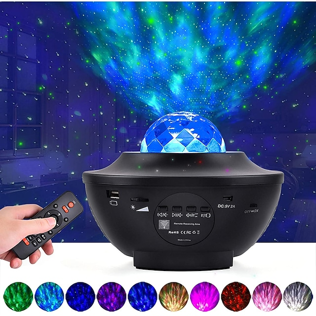 LED  Galaxy Projector Night Light Ocean Wave Projection with Bluetooth Music Speaker 8W LED 10 Colors 21 Lighting Modes Brightness Levels Adjustable with Remote Control-LITBest