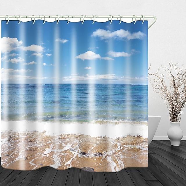 kupaonska dekoracija set zavjesa za tuš plaža pogled na more ispis vodootporna tkanina zavjesa za tuš za kupaonicu uređenje doma pokrivene zavjese za kadu podstava uključuje s kukama
