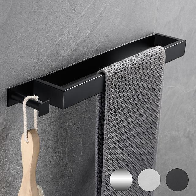 multifunktionelt badeværelseshåndklædeholder nyt design selvklæbende moderne rustfrit stål håndklædebjælke vægmonteret med krog perforeret/selvklæbende valgfri