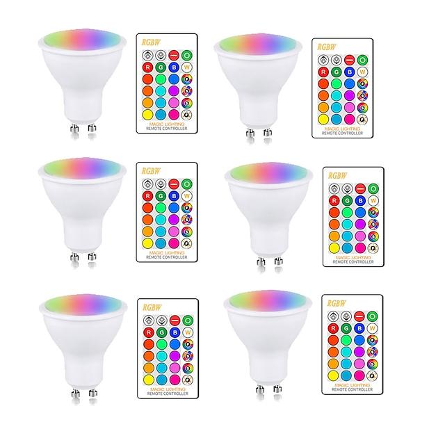 5W RGBW LED žárovka GU10 E27 AC85-265V světelná lampa změna barvy stmívatelná s IR dálkovým ovladačem