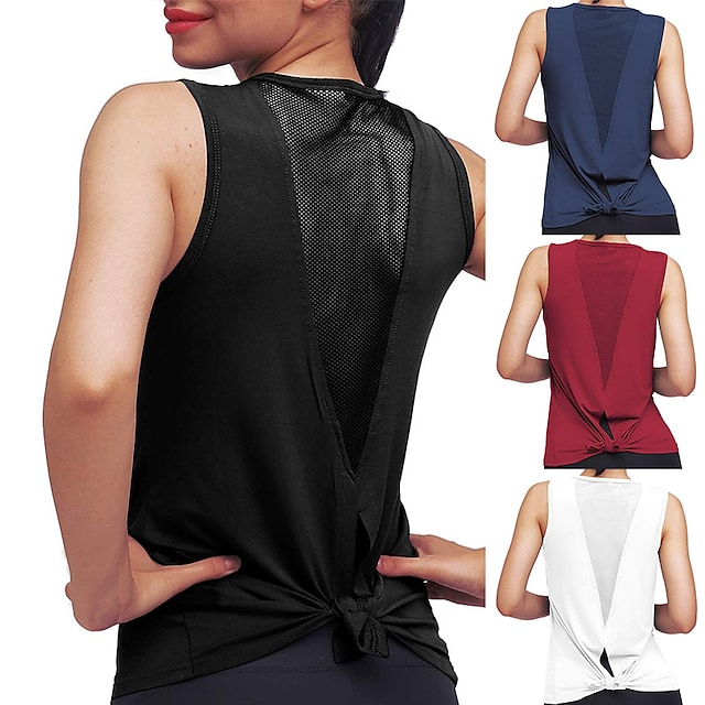 Women's Yoga Top Summer Patchwork Tie Back Fashion Burgundy White Mesh Fitness Gym Workout Running Tee Tshirt Tank Top Sport Activewear 4 Way Stretch Comfort Quick Dry High Elasticity Loose / Cotton